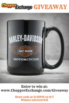 GIVEAWAY TIME! **Click on the image above to enter!** We're giving away a #HarleyDavidson 16oz #coffee #mug to one (1) lucky person. Draw ends at 11:59pm (EST). on 9/714. Winner selected on 9/8/14. #chopperexchange #bikerlife #bikerchick #livetoride #windtherapy #motorcycle #harley