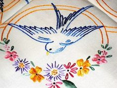 vintage hand embroidered swallow tablecloth