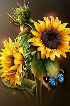 Diamond Painting Sunflowers and Blue Butterfly Kit Butterfly Kit, Butterfly Flowers, Sunflower Flower, Sunflower Design, Art Floral, Flamingo Pictures, Sunflowers And Daisies, Sunflower Pictures, Fleurs Diy