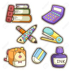 Illustration about School set. set of different school items, vector illustration. Illustration of stapler, creative, back - 32843460 Kawaii Stickers, Cute Stickers, Printable Stickers, Planner Stickers, School Tool, School Sets, School Photos, Flashcards For Kids, Easy Drawings