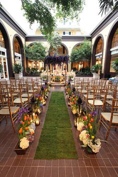 Bright and colorful flowers for a summer wedding in the courtyard