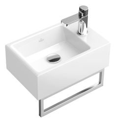 Villeroy & Boch Memento - Hand wash basin 400 x with towel rail BNIB Guest Toilet, Downstairs Toilet, Small Toilet, Sink Design, Toilet Design, Cloakroom Basin, Small Basin, Toilet Room, Towel Rail