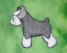 Schnauzer Magnet/Ornament-hand embroidered on felt