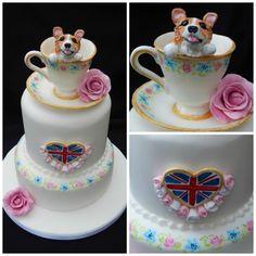 Queens Corgi Birthday cake by Elizabeth Miles Cake Design