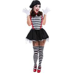 Mime Costume! Throw on a stripe shirt and black bottoms.. super easy DIY last minute costume!