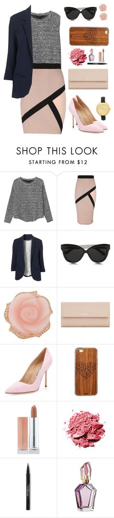 """Audrey Hepburn"" by fifty-shades-of-prada ❤ liked on Polyvore featuring Monki, Jane Norman, Linda Farrow, Irene Neuwirth, Bally, Manolo Blahnik, Toast, Maybelline, Trish McEvoy and Michael Kors"