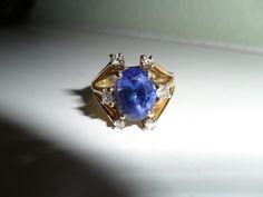 Vintage ring Tanzanite & Diamond 14K Gold 1960s - kathijanes on Bonanza.com