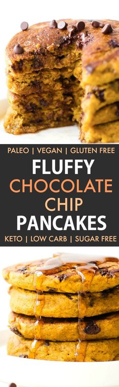Fluffy Low Carb Keto Chocolate Chip Pancakes (Paleo, Vegan, Sugar Free, Gluten Free)- A quick and easy recipe for Thick, fluffy flourless pancakes with chocolate chips- Easy everyday ingredients, freezer-friendly and a healthy ketogenic breakfast option! #ketopancakes #lowcarbpancakes #veganpancakes #paleopancakes | Recipe on thebigmansworld.com
