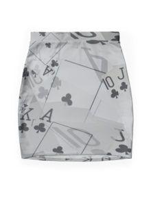 Poker Cards, Royal Club Flush Layer Pattern Mini Skirt
