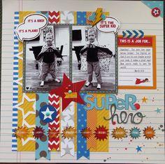 #papercraft #scrapbook #layout.  Skrapaddict's Gallery: Pebbles Super Hero layout