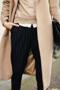 Camel coat & pinstripes  /  @shardetteblog