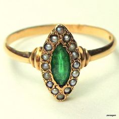 Antique Victorian 10K Gold Emerald & Seed by JanesGemCreations