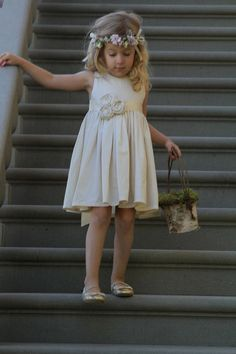 Flower girl idea...simple...could use for other occasions.  Whisper Flower girl dress Natural 100 Cotton  2T5 by OliveandFern, $79.00