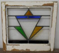 "OLD ENGLISH LEADED STAINED GLASS WINDOW Unique Geometric design 18.75"" x 18"""