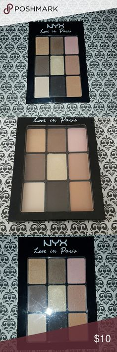 NYX Love in Paris Eyeshadow Palette NYX Love in Paris Series in 02 Madeleines and Macaroons. BRAND NEW/UNOPENED. Original sticker is still sealed. This Palette has 9 Beautiful Eyeshadow Colors. Im decluttering and I want this palette to find its new home. NYX Makeup Eyeshadow