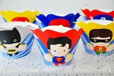 Superhero Cupcake Wrappers, Batman Superman & Spiderman Cupcake Decoration - Baking Cups & Cupcake Liners Cupcake Wraps, Cupcake Liners, Superhero Birthday Party, Birthday Parties, Superman And Spiderman, Baking Cups, Best Part Of Me, Party Supplies, Card Stock
