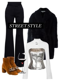"""""""Silver thang :)"""" by tobiboba ❤ liked on Polyvore featuring Alexander McQueen, Miu Miu, Off-White, Riedel and Ted Lapidus"""