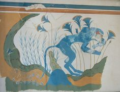 These blue moneys appear on a wall in Akrotiri, a Minoan city on the island of Santorini.