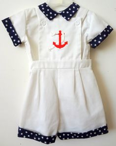 Vintage Boys Sailor Overall with Anchor and Stars by breedbabynyc, $31.50