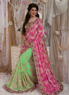 Bollywood Collection : RANI AND PISTA GREEN COLOUR #PARTY #WEAR #SAREE  GET INR 200 OFF on your first purchase !!! USE Coupon Code 200 OFF only at #NIF #NewIndiaFashion