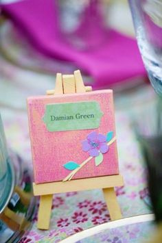 Mini  Canvas on  Easel Wedding Place  Card