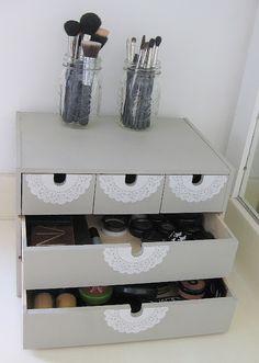 I like this make-up storage idea