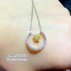 Solid 18K Gold Yellow Diamond 'Moon & Star' Necklace, Fancy Color Diamond, Fiancee/Christmas/Anniversary/Birthday/Wedding/Valentine Gift