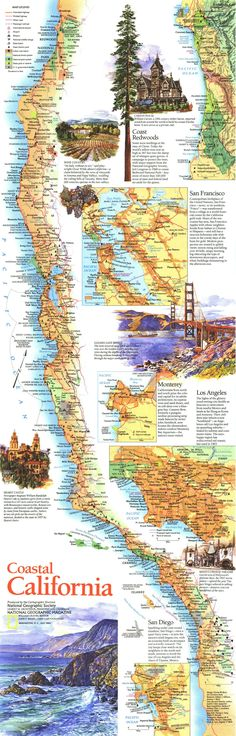 California Coastal Map, we have done this trip twice, beautiful, we so want to live in California ~~~