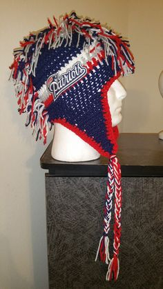 Patriots inspired Crocheted Hat  Crocheted Hat  Made to order in size  infant to adult  b07bed80c02