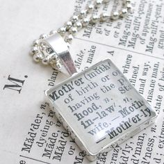 M is for Mother. Sterling Silver 1892 Dictionary Necklace. Antique by dlk designs, llc