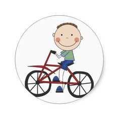 Boy on Bicycle Tshirts and Gifts Stickers