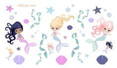 Mermaids, Starfish and Seashells Clipart Stickers Planner Stationery