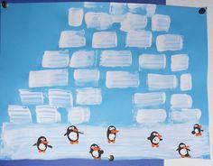 iglo met pinguïns. verven zonder kwast; mbv kartonnetjes de blokken van de iglo maken, pinguïn met vingerafdruk, pinguïn details met achterkant van verfkwast.