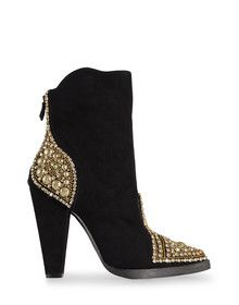 BALMAIN black and gold embellished high heel bootie (ankle boot)