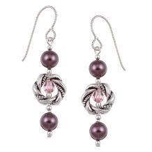 @Overstock - Gorgeous Swarovski crystallized burgundy pearls and pink Swarovski crystal beads highlight these earrings with twisted round pewter frame beads. These earrings are also made with radiant Argentium sterling silver.http://www.overstock.com/Main-Street-Revolution/MS-DJ-Casanova-Argentium-Silver-Crystallized-Pearl-Earrings/5193921/product.html?CID=214117 $18.99