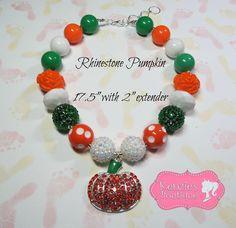 """Rhinestone Pumpkin"" Chunky Beaded Necklace, Photo Prop, Girly, Halloween"