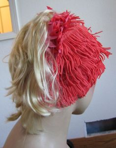 Vintage 70's swim cap with ponytail!! So outrageous, but I love it