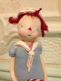 Primitive Little Raggedy Ann Doll With Dog by pattycakeprimitives