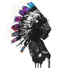 indian man with colourful headdress art canvas Native American Tattoos, Native American Headdress, Native American Art, Native American Paintings, American Symbols, American Women, American Indians, American History, Arte Do Hip Hop