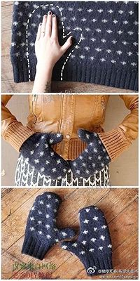 Recycle old sweaters to make mittens YUP looks easy right?!!! hahahahahaha