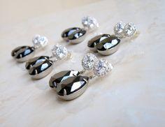 Grey Black Earrings Hematite Teardrop Stone Silver by SomsStudio, $26.00