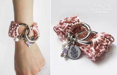 pulsera de punto, tejido de punto, reczne Roboty, rÄczne Roboty, robotyreczne, ballet rosa, brazalete atractivo, polvo de color rosa, de doble anillo, el diseño de prendas de punto