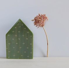 Ceramic house Pottery house Green clay house by TreasureCraftsBox