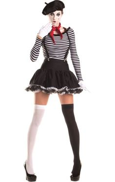 If you prefer to act out what you are trying to say, then this Mesmerizing Mime Womens Costume is just for you! Whether you are going to an international party, or a Halloween event, this costume is very easy to make scary! Mime Halloween Costume, Circus Costume, Halloween Fancy Dress, Spirit Halloween, Sexy Clown Costume, Easy Halloween, Pierrot Kostüm Damen, Adult Costumes, Costumes For Women