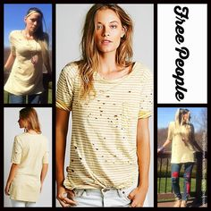 """Free People Tunic Striped 'Destroyed' Tommy Tee  NEW WITH TAGS   RETAIL PRICE: $78   Free People Tunic Top Striped 'Destroyed' Tommy Tee   * Super soft & comfy knit fabric w/purposely distressed & worn details.   * It measures about 28.5-29.5"""" long.   * Scoop neck & elbow length sleeves.   * Side slits & hi-lo hem.   * Contrasting allover striped print.   Fabric: 100% Cotton; Machine wash.  Color: Mustard Ivory Combo. Item:   T-shirt No Trades ✅ Offers Considered*✅  *Please use the blue…"""