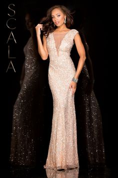 #SCALA Spring 2016 style 48569 Blush! #scalausa #spring2016 #prom2016 #gown #promdress #eveningwear #dress #sequins #specialoccasion #prom2k16 www.scalausa.com