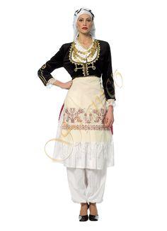 Cretan Female Traditional Costume Traditional Fashion, Traditional Outfits, Dance Costumes, Greek Costumes, Costumes Around The World, Greek Wedding, Greek Clothing, Folk Costume, Dance Dresses