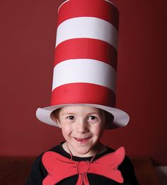 Boy wearing a Cat in the Hat costume