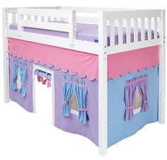 Girl's Play Tent MID Loft Bed by Maxtrix Kids (pink/blue on white) Loft Bed Curtains, Bunk Bed Tent, Girls Play Tent, Playhouse Windows, Light Blue Curtains, Childrens Curtains, Unicorn Bedroom, Pink Bedding, Big Girl Rooms