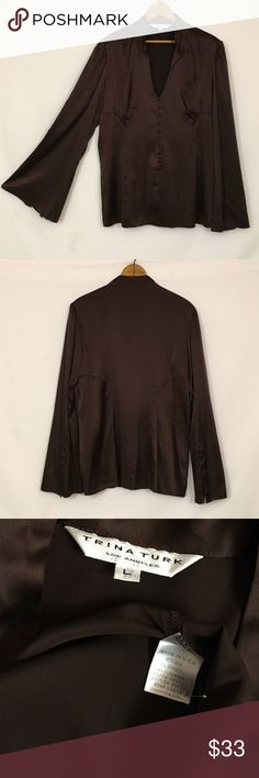 TRINA TURK bell sleeve chocolate stretch silk top Excellent condition! Silk, spandex. Made in USA. Style # 267701. Covered buttons and self loops down front, three button embellished bell sleeves, Mandarin collar. Bust 41 length 25.5 Trina Turk Tops Button Down Shirts